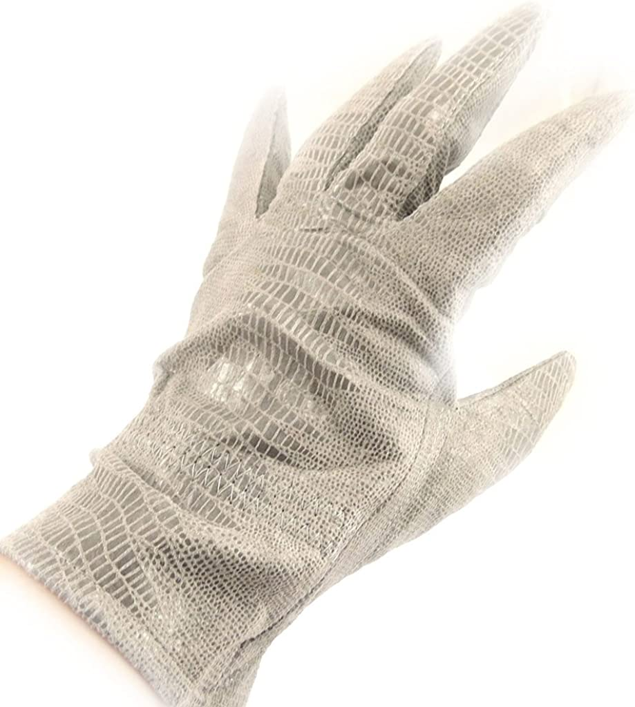 Leather gloves leather 'Scarlett'light gray (python pattern).
