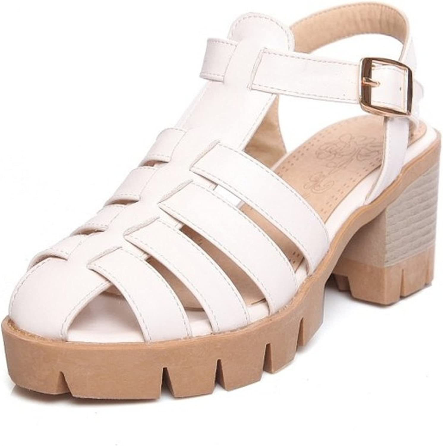 Nerefy Leisure Big Size 33-43 Platform Women Sandals Casual Square Heels Ankle Strap Gladiator shoes