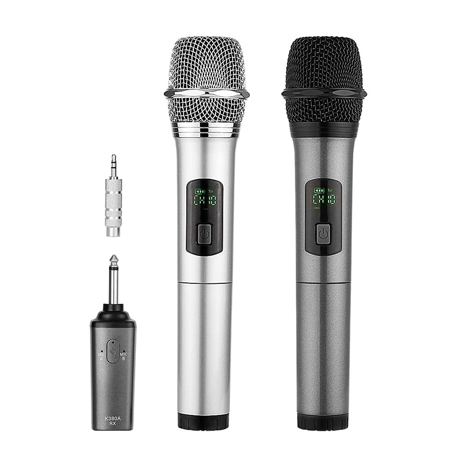 ARCHEER Dual Bluetooth Wireless Microphone, UHF Handheld Dynamic Microphone with Bluetooth Receiver and 3.5mm Adaptor, Selectable UHF Channels Karaoke Microphone for Singing and Other Purpose.