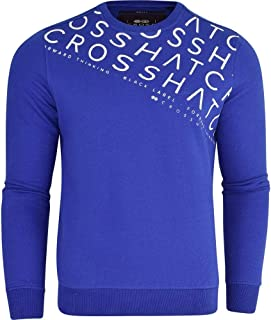 Crosshatch Mens Designer 'Francis' Crew Neck Fleece Sweatshirt Jumper Smart Casual Top