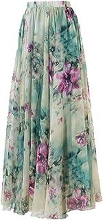 Ailainniyishi - Maxi Falda Larga de Gasa Floral Bohemio para Mujer, Cintura Alta, Plisado Maxi Vestido