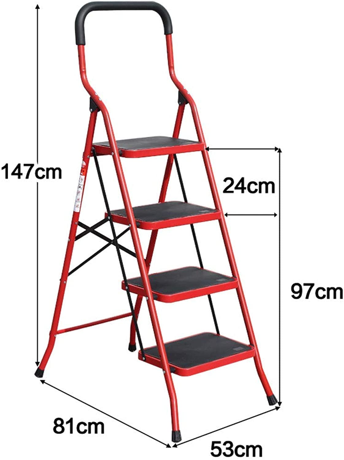 Qing MEI Ladder Household Folding Telescopic Ladder Handrail Four Steps Five Step Ladder Thickening Wide Pedal Herring Ladder Stairs A+ (color   B, Size   4 Steps)