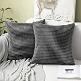 <span class='highlight'><span class='highlight'>MIULEE</span></span> Corduroy Soft Solid Decorative Square Throw Pillow Case Big Kernels Corn Striped Thick Cushion Cover for Sofa Bedroom 18 x 18 Inch 45 x 45Cm Grey Set of 2