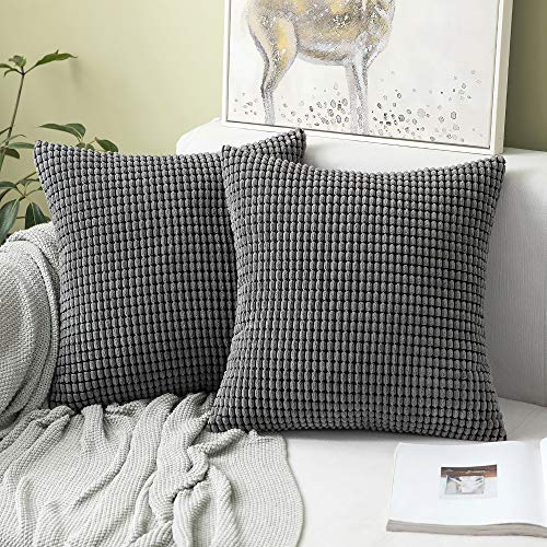 MIULEE Corduroy Soft Solid Decorative Square Throw Pillow Case Big Kernels Corn Striped Thick Cushion Cover for Sofa Bedroom 18 x 18 Inch 45 x 45Cm Grey Set of 2