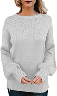 Womens Backless Loose Round Neck Pullover Sweater Knit Jumper Sweater