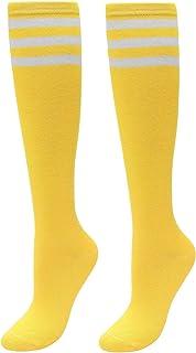 Medias altas para mujer, diseño de rayas, hasta la rodilla