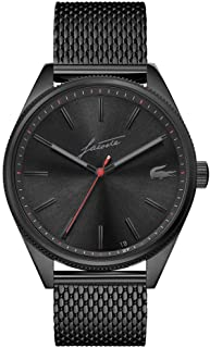 Lacoste Men's Heritage Quartz Watch with Stainless Steel Strap, Black, 20 (Model: 2011054)