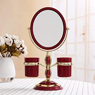 MXD Mirror HD Desktop Princess Mirror Double-Sided Rotating Magnifying Mirror Red