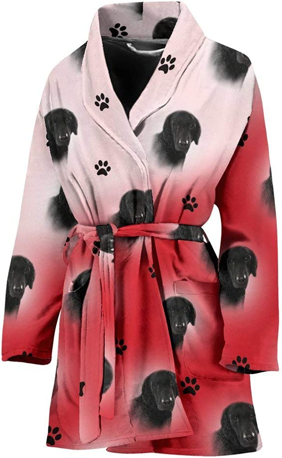 Amazing CurlyCoated Retriever Dog Print On Red White Women's Bath Robe