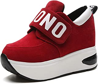FEELING WELL PP Fashion Women's Slip-on Gym AthleticCasual Sports Wedges Platform Sneakers Hidden Heel Shake Shoes