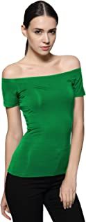 Short Sleeve Trendy Fitted Off Shoulder Modal Blouse Top T-Shirt