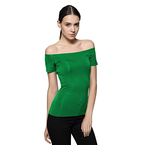 3d4096c17fd Maggie Tang Short Sleeve Trendy Fitted Off Shoulder Modal Blouse Top T-Shirt