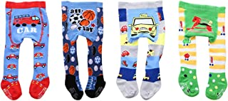 CHUNG Infant Baby Boys Non-Skid Knit Cotton Footed Tights Stockings Cartoon Warm Leggings Pants 4 Pack