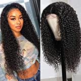 UNice Hair Silk Base Fake Scalp Human Hair Curly Wigs for Black Women Middle Part, Brazilian Virgin Hair T-Part Lace Closure Wig Pre Plucked with Baby Hair 150% Density 18inch