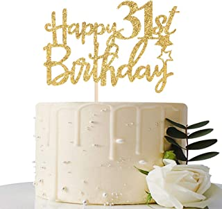 Gold Glitter Happy 31st Birthday Cake Topper - 31 Cake Topper - 31st Birthday Party Supplies - 31st Birthday Party Decorat...