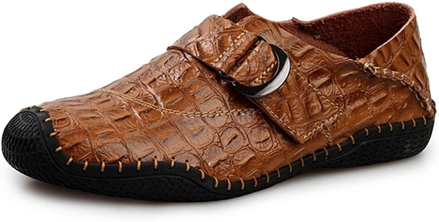 Men's Oxford Casual Loafers Slip on Leather Crocodile Pattern Handmade Breathable Fashion Flats Driving shoes
