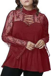 CharMma Women's Oversize See Thru Mock Neck Flare Sleeve Criss Cross Lace Blouse