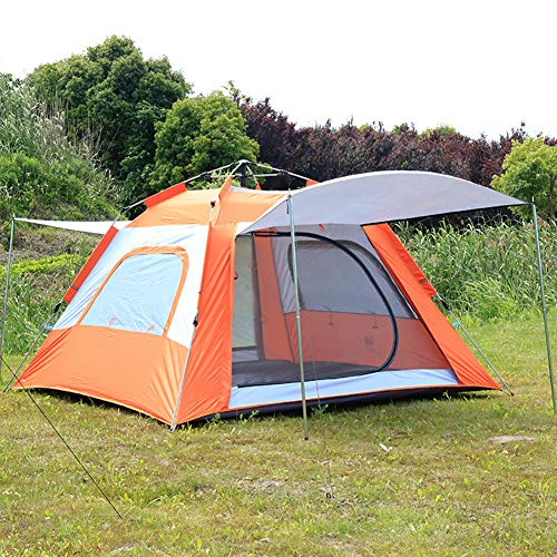 ZYCWBW Instant Pop Up Camping Tents for 3-5/5-8 Person Family, Dome Waterproof Sun Shelters Backpacking Tents Quick Set Up for Camping Hiking Outdoor Activities,Orange,5 to 8 people