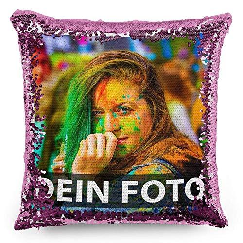 Tassendruck Foto-Kissen mit bedruckten pinken Wendepailletten Selbst gestalten (40 x 40 cm) - mit Foto individuell Bedruckt/Personalisierte Geschenk-Idee/Deko-Kissen inkl. Füllung