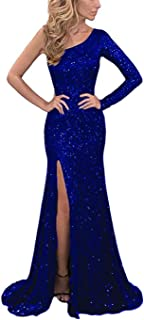 Women's One Shoulder Sequin Mermaid Evening Dress Long Sleeve Formal Prom Gown