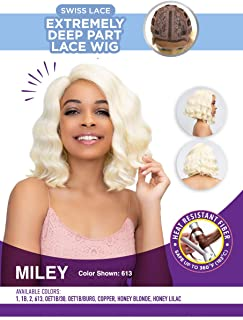 Janet Collection Extended Part Deep Swiss MILEY Lace Front Wig (1B)