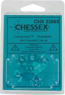 Chessex CHX23065 Dice-Translucent Mini White Set, Teal