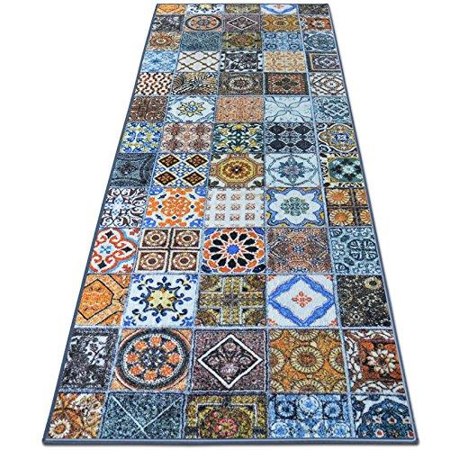Teppichläufer Bonita | Patchwork Muster im Vintage Look | viele Größen | moderner Teppich Läufer für Flur, Küche, Schlafzimmer | Niederflor Flurläufer, Küchenläufer | Breite 80 cm x Länge 250 cm
