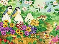 クロスステッチツールキットダイヤモンドペインティングダイヤモンドペインティングダイヤモンドアートフルペーストアート5DモザイクアートマニュアルDIYクラフトキット40x50cm-2つの小鳥