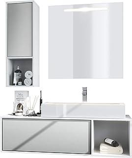 Conjunto de Muebles para baño La Costa, Cuerpo en Blanco Mate/Frentes en Gris Claro Satinado con Lavabo, grifería y Espejo LED