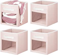 mDesign Soft Fabric Closet Storage Organizer Cube with Front View Window Bin, Storage for Closet, Blankets, Pillows, Cloth...