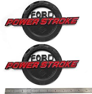 2pcs OEM Power Stroke International Diesel Side Fender Emblems 3D Logo 6.0L 6.7L 7.3L Powerstroke Badge Replacement for F150 F250 F350 Red Black