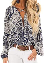 Realdo Women Paisley Blouse, Casual Ladies V-Neck Long Sleeve Chiffon Print Fashion Blouse T-Shirt Tank Tops