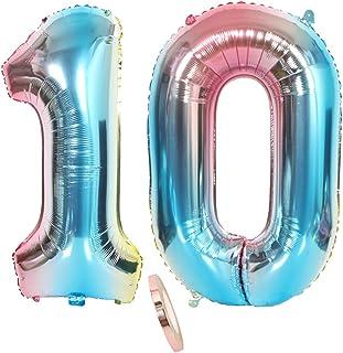 """2 Globos Número 10, Globo número Rainbow Boy Guys, 32 """"Globo de Papel de Helio Inflable Gigante Azul Colorido Globos iridiscentes Estatuillas para la decoración de la Fiesta de cumpleaños (XXXL 80cm)"""