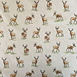Vintage Tiere Hirsche Baumwolle Rich Leinen Look Stoff für