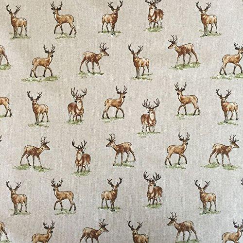 Vintage Tiere Hirsche Baumwolle Rich Leinen Look Stoff für Vorhänge Jalousien Craft Quilting Patchwork & Upholstery 139,7cm 140cm breit, Meterware,