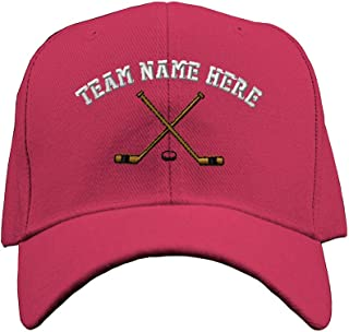 Custom Baseball Hat Hockey Sticks Embroidery Team Name Acrylic Structured Cap