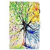 Lspcase Kompatibel für Samsung Galaxy Tab A 10.5 Zoll SM-T590 T595 PU Schutz Hülle Flip Cover Wallet Hardcase im Bookstyle mit Standfunktion Karteneinschub & Magnetverschluß Etui Lebens Baum