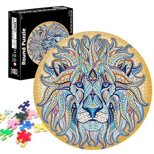 TaimeiMao Puzzle Redondo 1000 Piezas,Rompecabezas Redondo,Puzzle Creativo,Puzzle Arcoiris,Puzzle Adultos (león)