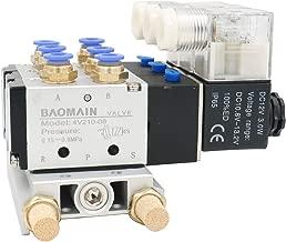Baomain Solenoid Valve 4V210-08 DC 12V 2 Position 5 Way Triple Mufflers Quick Fittings Base Set