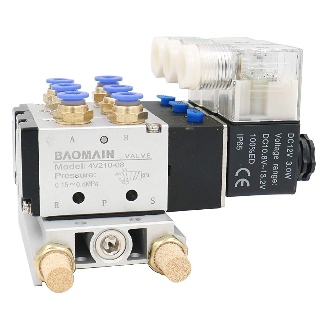 Baomain Solenoid Valve 4V210-08 DC 12V 2 Position 5 Way Triple Mufflers Quick Fittings Base Set
