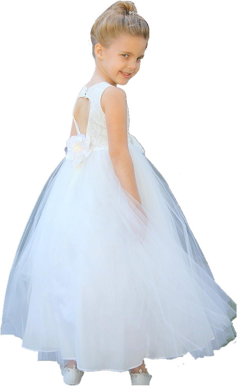 ekidsbridal Floral Lace Heart Cutout Formal Flower Girl Dress Summer Dress 172F