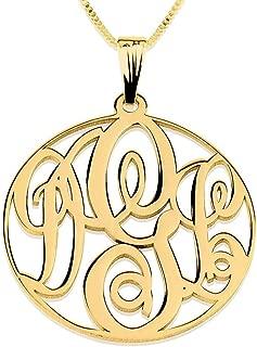Circle Monogram Necklace - Personalized Initial Monogram Pendant
