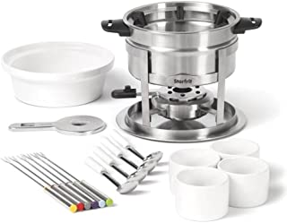 Starfrit 20-Piece Fondue Party Set | Includes: 1.7 qt Fondue Pot, Ceramic Bowl, (4) Ramekins, (6) Forks, (4) Spoons And More