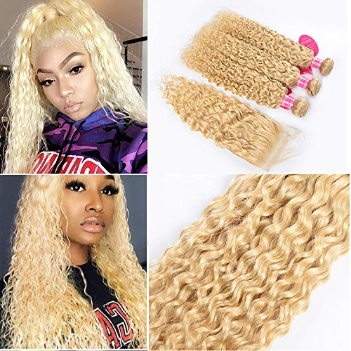 Water Wave Hair Bundles with Closure Wet and Wavy 613 Blonde Human Hair Weave 3 Bundles with Lace Closure Water Wavy Peruvian Virgin Hair Can be Sewn into Blond Lace Wigs (16 18 20+14, 613 blonde)