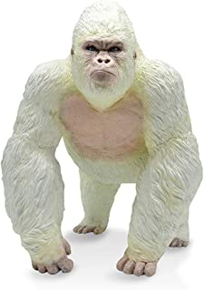 RECUR Toys Large Albino Gorilla White King Kong Toys - Realistic Hand Painted Walking Gorilla Ape Wild Animal Figurine Model – Replica Gorilla Monkey Figure Gift for Collectors & Boys Kids 3+ (White)