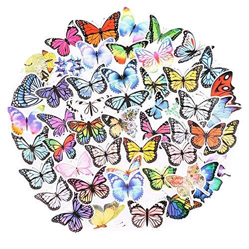 LSPLSP Bonitas Pegatinas de Flores de Mariposa para portátil, monopatín, Guitarra, Pegatinas de papelería, calcomanías de Botella de Coche para Nevera, Juguetes para niños, 100 Uds.