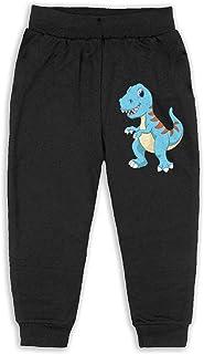 Easionerol Blue Small Dinosaur Kids Long Sweatpants Jogger Trousers