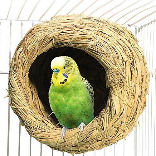 Zakynuye Straw Bird Nest, Grass Handwoven Bird House for Parakeet Cockatiel Canary Lovebird and Small Parrot, Hand-Woven Grass Hatching Bird Hut for Cold Weather, Natural Breeding Place for Birds