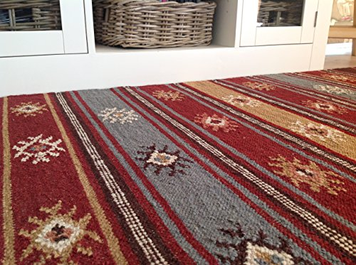 Second Nature Online Karsha - Tappeto Kilim, commercio equo e solidale 75 x 120cm Viola