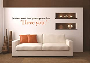 Removable Vinyl Decal Art Mural Home Decor Wall Stickers Inspirational Wall Decal Love Quote No Three Words Have Greater Power Than I Love You for Living Room Bedroom
